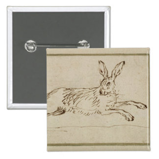 A Hare Running, With Ears Pricked (pen & ink on pa Button