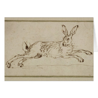 A Hare Running, With Ears Pricked (pen & ink on pa Card