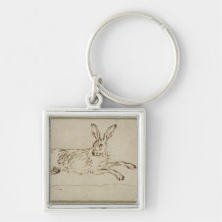 A Hare Running, With Ears Pricked (pen & ink on pa Silver-Colored Square Keychain