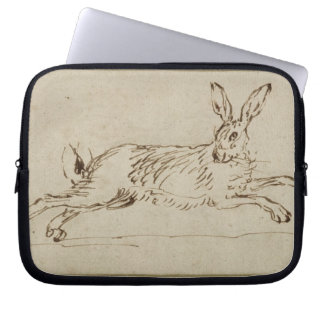 A Hare Running, With Ears Pricked (pen & ink on pa Laptop Sleeve