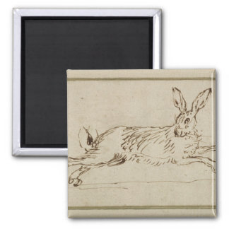 A Hare Running, With Ears Pricked (pen & ink on pa Magnet