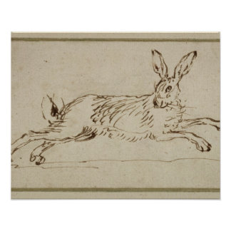A Hare Running, With Ears Pricked (pen & ink on pa Posters