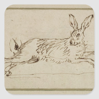 A Hare Running, With Ears Pricked (pen & ink on pa Square Stickers