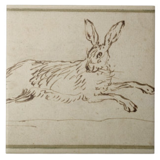 A Hare Running, With Ears Pricked (pen & ink on pa Tile