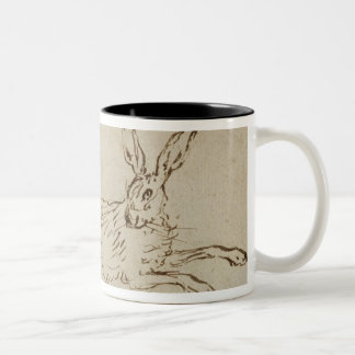 A Hare Running, With Ears Pricked (pen & ink on pa Two-Tone Coffee Mug