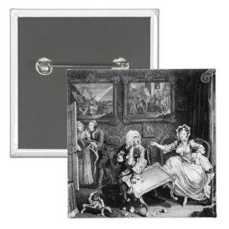 A Harlot's Progress, plate II, Quarrels 2 Inch Square Button