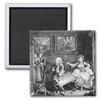 A Harlot's Progress, plate II, Quarrels 2 Inch Square Magnet