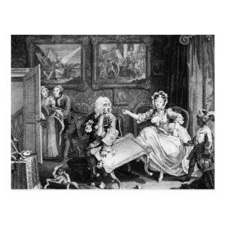 A Harlot's Progress, plate II, Quarrels Postcard