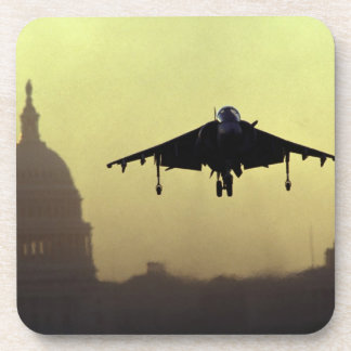 A Harrier jet landing on the Mall at dawn with Drink Coaster