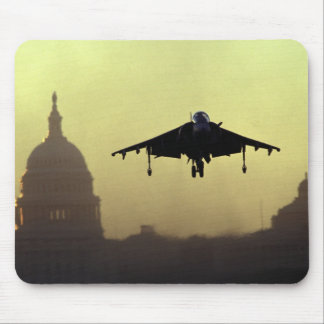 A Harrier jet landing on the Mall at dawn with Mouse Pad
