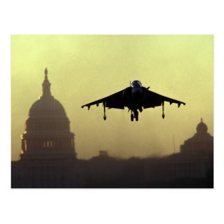 A Harrier jet landing on the Mall at dawn with Postcard