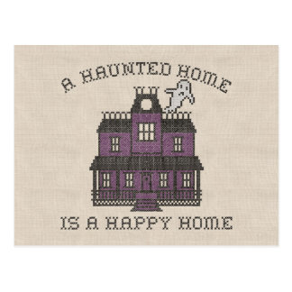 A Haunted Home is a Happy Home Cross Stich Postcard