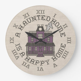 A Haunted Home Is A Happy Home Large Clock