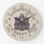 A Haunted Home Is A Happy Home Round Wallclocks