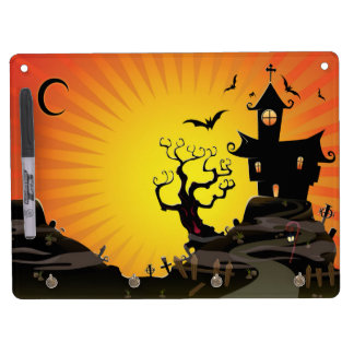 A Haunted House Dry Erase Board With Keychain Holder