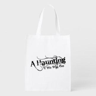 A Haunting We Will Go LLC Black Logo White Back Grocery Bag
