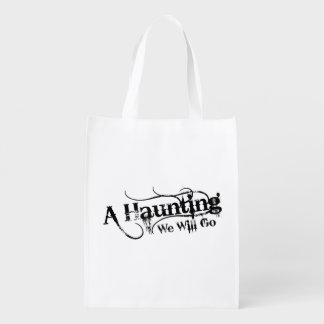A Haunting We Will Go LLC Black Logo White Back Grocery Bag