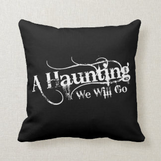A Haunting We Will Go LLC Black + White Logo Throw Pillow