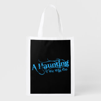 A Haunting We Will Go LLC Blue Logo Black Back Reusable Grocery Bag
