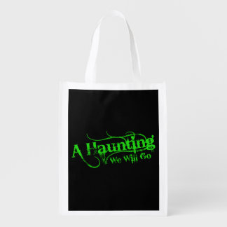 A Haunting We Will Go LLC Green Logo Black Back Grocery Bags