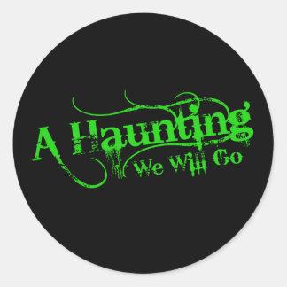 A Haunting We Will Go LLC Green Logo Classic Round Sticker