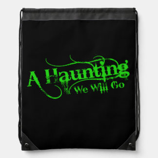 A Haunting We Will Go LLC Green Logo Drawstring Backpack