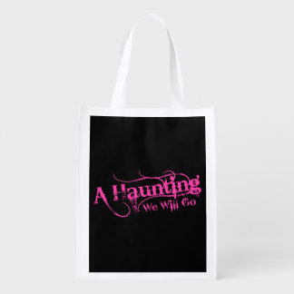 A Haunting We Will Go LLC Pink Logo Black Back Grocery Bag