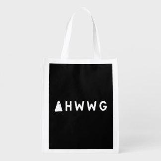 A Haunting We Will Go LLC White Logo Black Back Grocery Bag
