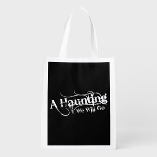 A Haunting We Will Go LLC White Logo Black Back Reusable Grocery Bag