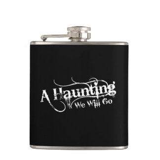 A Haunting We Will Go LLC White Logo Flask