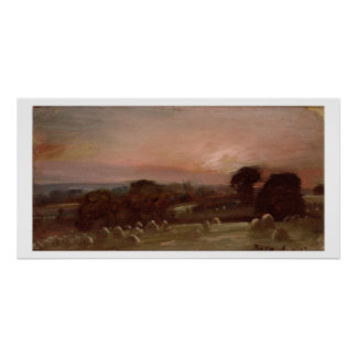 A Hayfield near East Bergholt at Sunset Poster