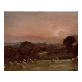 A Hayfield near East Bergholt at Sunset Print
