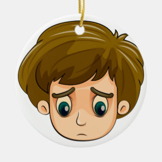 A head of a sad young boy Double-Sided ceramic round christmas ornament