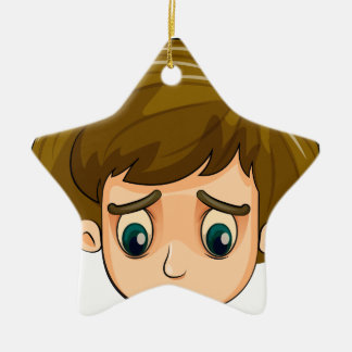 A head of a sad young boy Double-Sided star ceramic christmas ornament
