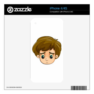 A head of a sad young boy skins for the iPhone 4S