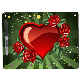 A Heart and Roses Dry Erase Board With Keychain Holder