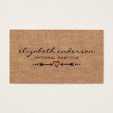 Professional Business A Heart & Arrows Motif Rustic Custom Business Card