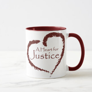 A Heart for Justice mug 15 oz. (maroon ringer)