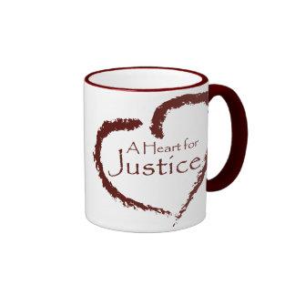 A Heart for Justice mug 15 oz. (maroon ringer)