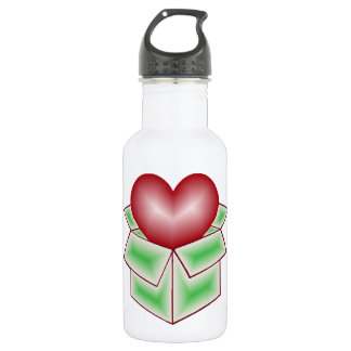 A Heart in a Box - Green Stainless Steel Water Bottle