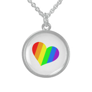 A heart in rainbow colors sterling silver necklace