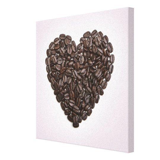 A heart made of coffee beans canvas print