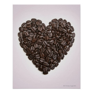 A heart made of coffee beans poster