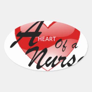 A Heart of a Nurse Oval Sticker