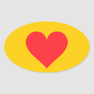 A Heart of Love and Affection Oval Stickers