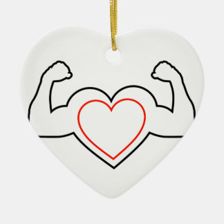A heart with flexing muscles- Healthy heart Ceramic Ornament
