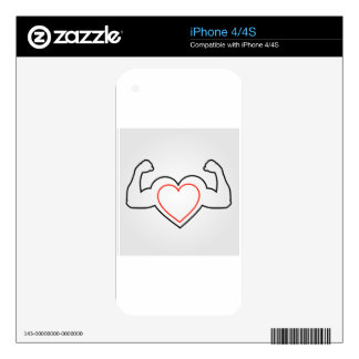 A heart with flexing muscles- Healthy heart iPhone 4S Decal
