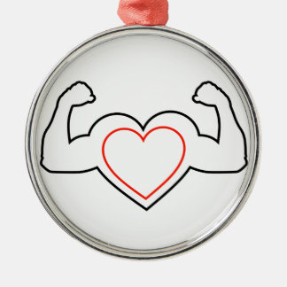 A heart with flexing muscles- Healthy heart Metal Ornament