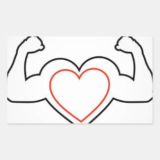 A heart with flexing muscles- Healthy heart Rectangular Sticker