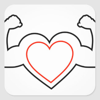 A heart with flexing muscles- Healthy heart Square Sticker